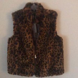 JCrew Leopard Faux Fur Vest